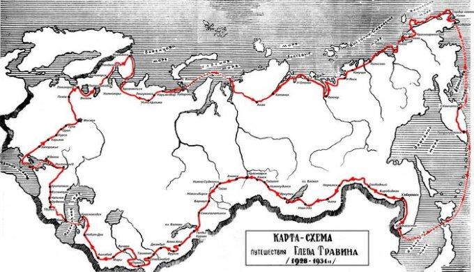 Схема маршрута Глеба Травина.