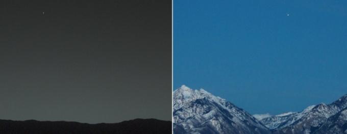Вид Земли с Марса и Марса с Земли.