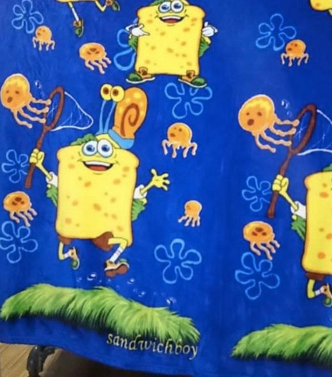 Нет, это не Губка Боб, а его брат-близнец Сэндвич-бой. Кто ж не знает Сэндвич-боя.