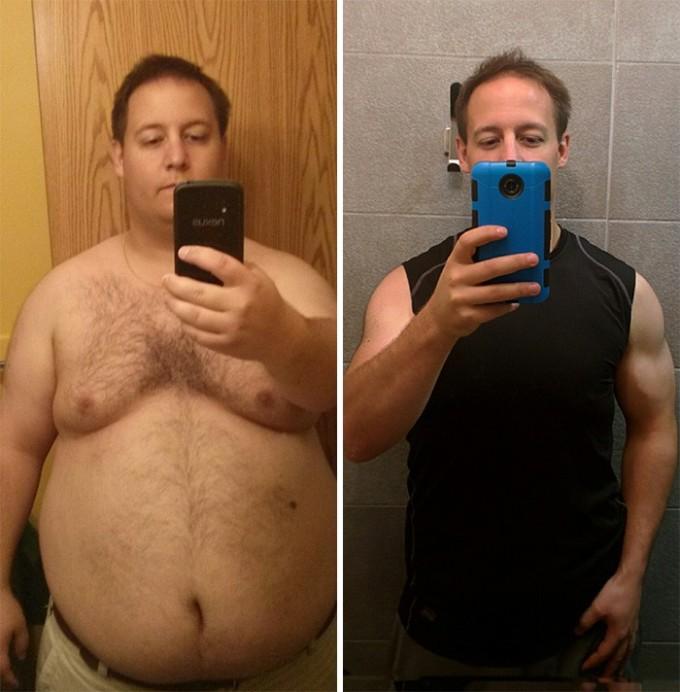 Он решил, что огромный живот – не лучшее украшение мужчины, и сбросил 54 кг за 14 месяцев.