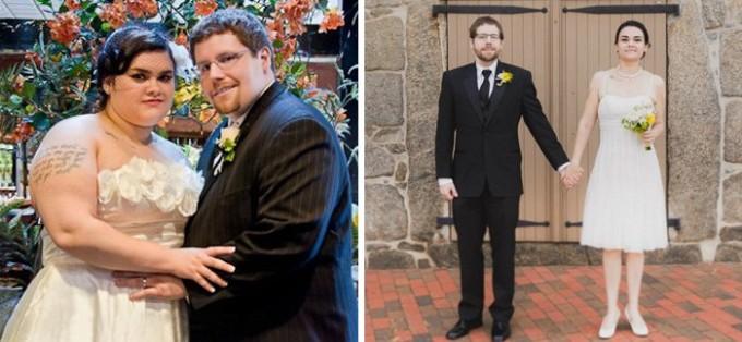 И снова счастливая пара, которой удалось похудеть – на этот раз к четвертой годовщине свадьбы. За полтора года усердного труда муж сбросил почти 59 кг, а жена – около 50 кг.