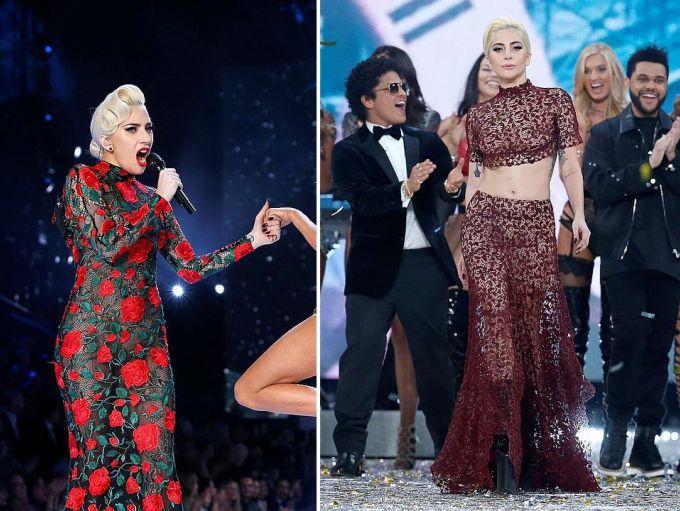 Леди Гага вышла на сцену в строгом и закрытом наряде, но потом все-таки показала немного плоти